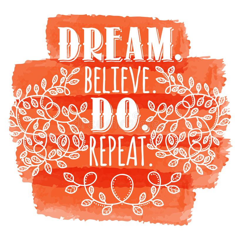 Inspirerande idérikt motivationcitationstecken Vektortypografibaner De royaltyfri illustrationer