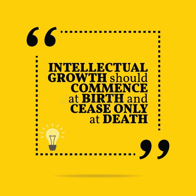 Inspirerande motivational citationstecken Intellektuell tillväxt, bör com royaltyfri illustrationer