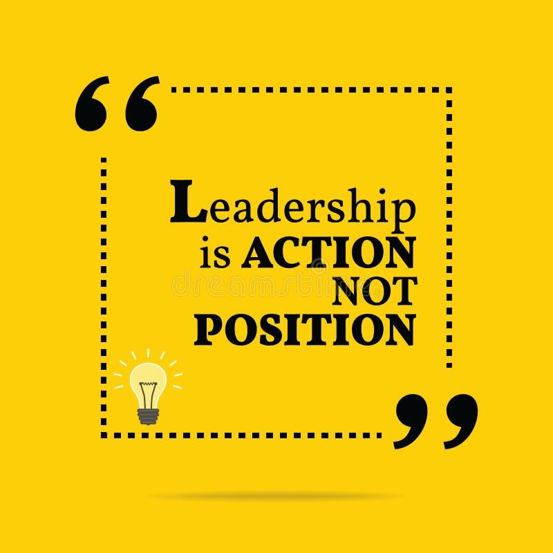 Inspirerande motivational citationstecken Ledarskap är handling att inte postulera royaltyfri illustrationer