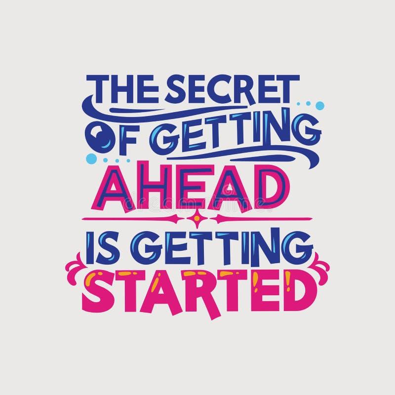 Inspirerande och motivationcitationstecken Hemligheten av att få ett huvud får startad vektor illustrationer