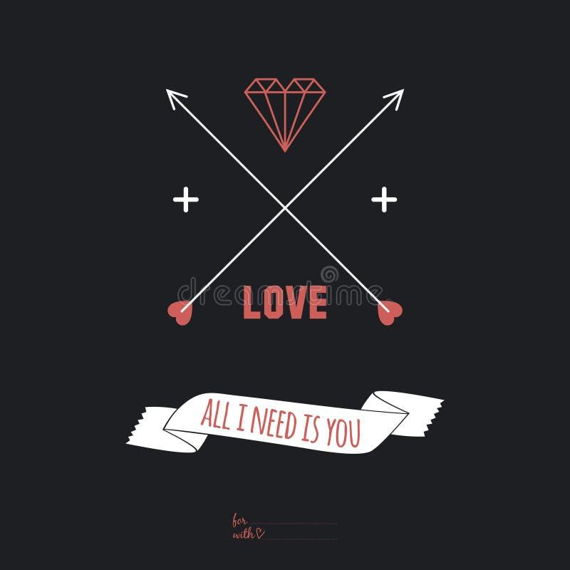 Inspirerande romantiskt citationsteckenkort Allt som du behöver, är stock illustrationer