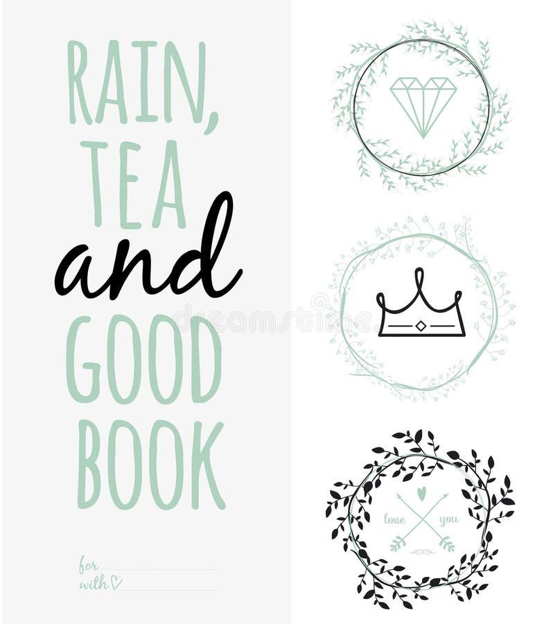 Inspirerande romantiskt citationsteckenkort Regn te, och vektor illustrationer