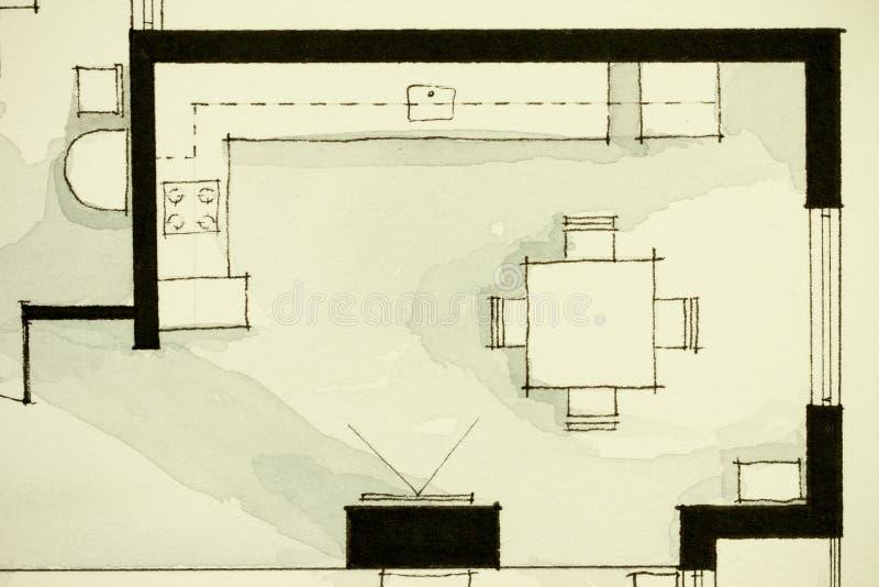 Inspirerande svartvitt illustrativt material för vattenfärg som och för färgpulver visar andelsfastighetlägenhetlägenhet partiskt stock illustrationer
