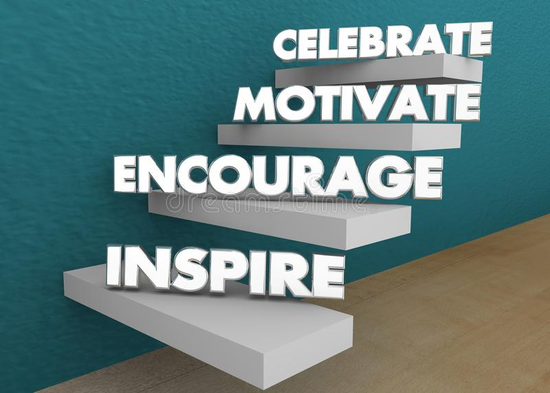 Inspirez encouragent motivent célèbrent les escaliers 3d Illustratio d'étapes photographie stock libre de droits