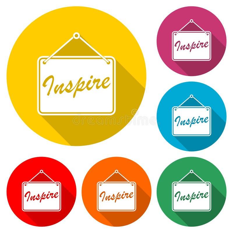 Inspirez marquer avec des lettres l'icône ou le logo, ensemble de couleur avec la longue ombre illustration stock