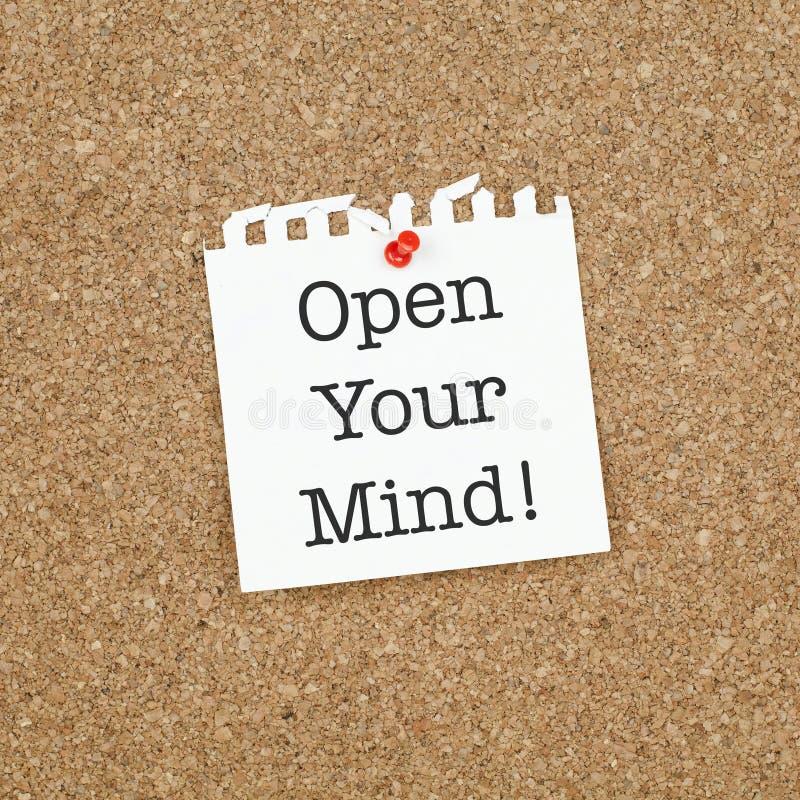 Inspirierend Geschäfts-Leben-Phrasen-Anmerkung öffnen Ihren Verstand stockfotos
