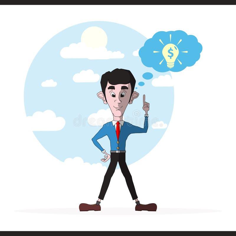 Inspirierend Idee des Geschäftsmannes und der Glühlampe stock abbildung