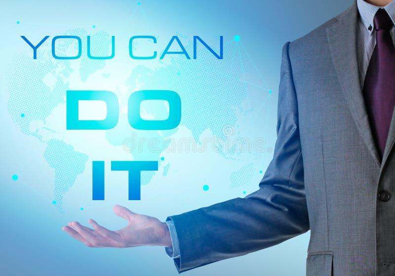 Inspirierend Motivierungsfirmenzitat mit Geschäftsmann Sie Ca lizenzfreie stockbilder
