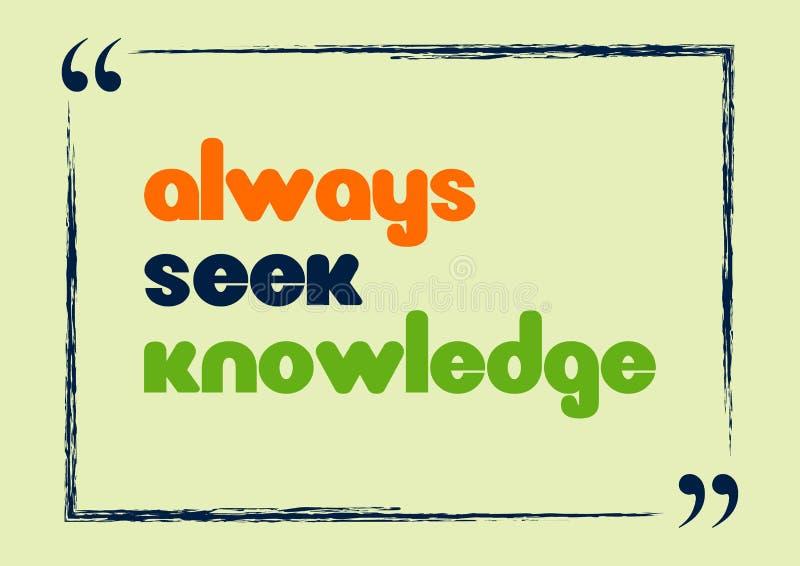 Inspirierend Motivzitat Immer Suchvorgang-Wissen Auch im corel abgehobenen Betrag lizenzfreie abbildung