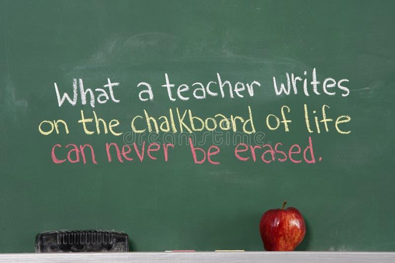 Inspirierend Phrase für Lehreranerkennung stockfotos