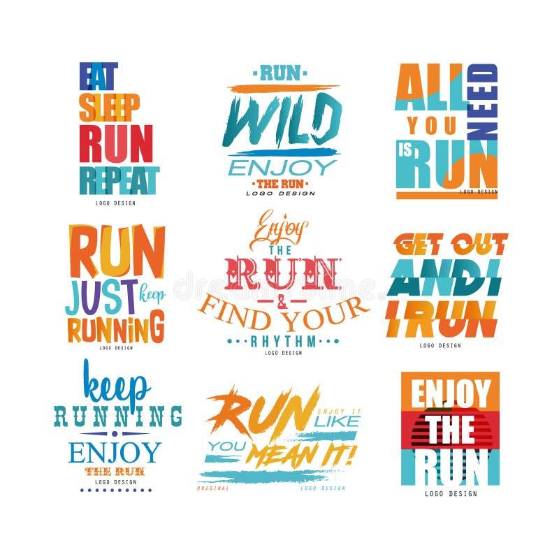 Inspirierend Slogans stellten, Sportmotivationskonzept, Gestaltungselement für laufendes Plakat, Karte, Dekorationsfahne, Druck e vektor abbildung