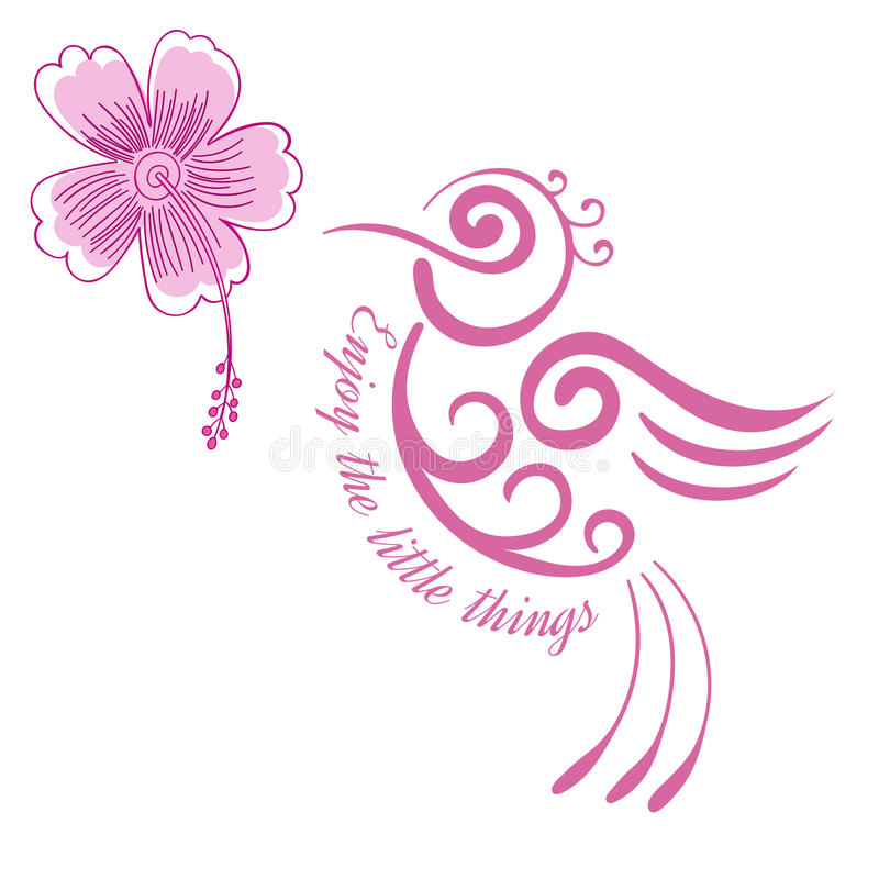 Inspirierend Zitat der Kolibriblume, Motivplakat stilisierte Vogel mit hawaiischem tropischem Vogel der Hibiscusblume lizenzfreie abbildung
