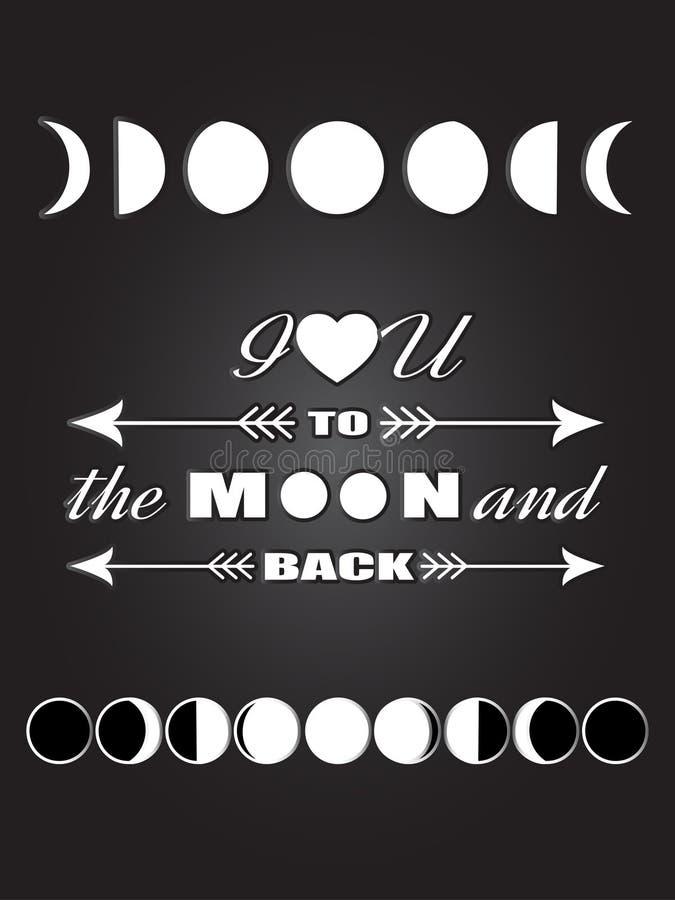 Inspirierend Zitat Liebeszitat, das ich liebe dich zum Mond und zur Rückseite mit Mondschwarzweiss-Plakat der verschiedenen Mondp lizenzfreie abbildung