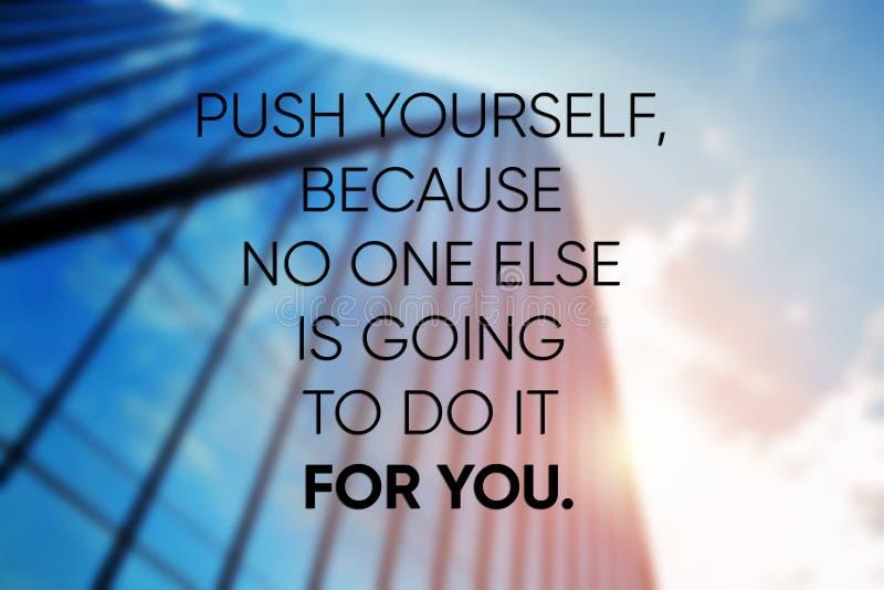 Inspirierend Zitate der Motivation typografisch auf Foto Positives Plakat des Erfolgs stockfoto