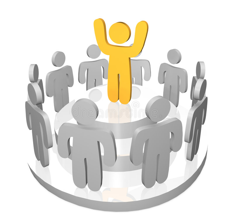 Inspiring the Group. 3D render of one person speaking to and inspiring a gathering of team members and co-workers vector illustration