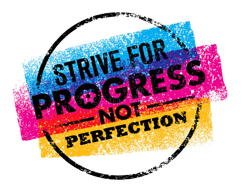 Inspiring motivation quote with text Strive For Progress Not Perfection. Vector typography poster design concept royalty free illustration