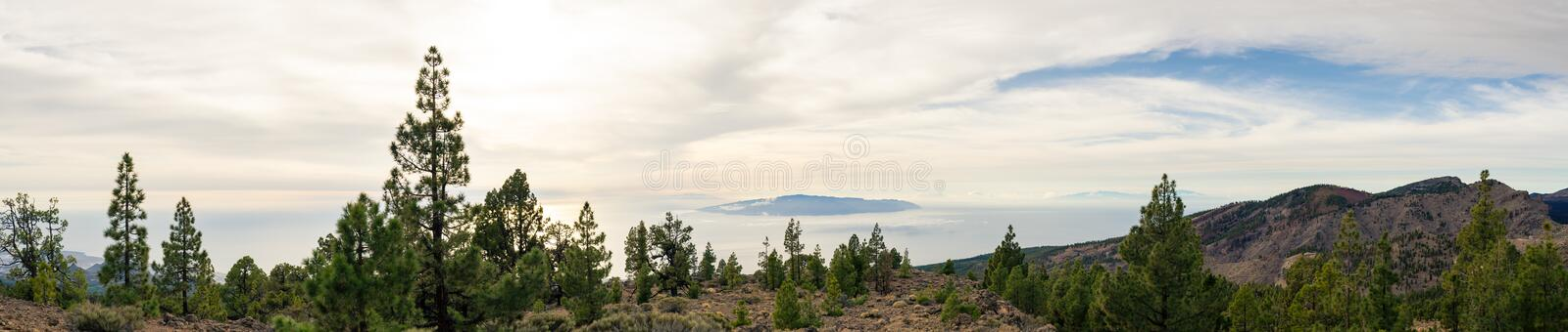 Inspiring Mountains Landscape, islands and ocean. Inspirational Mountains Landscape on Tenerife, Canary Islands, La Gomera Island stock photo