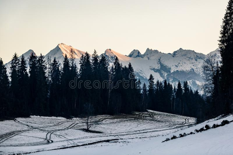 Mountains landscape, sunset in Tatras. Inspiring Mountains landscape in winter Tatras. Looking at high Tatra Mountains at sunset, panorama view stock photos