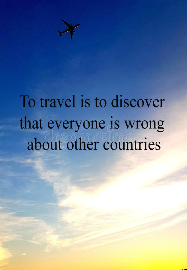 Inspiring note about travel with aeroplane and sky background stock photo