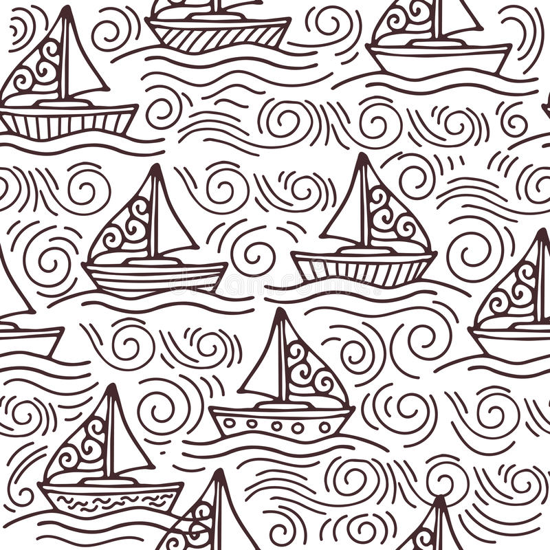 Inspiring seamless pattern with ships and the sea waves vector illustration