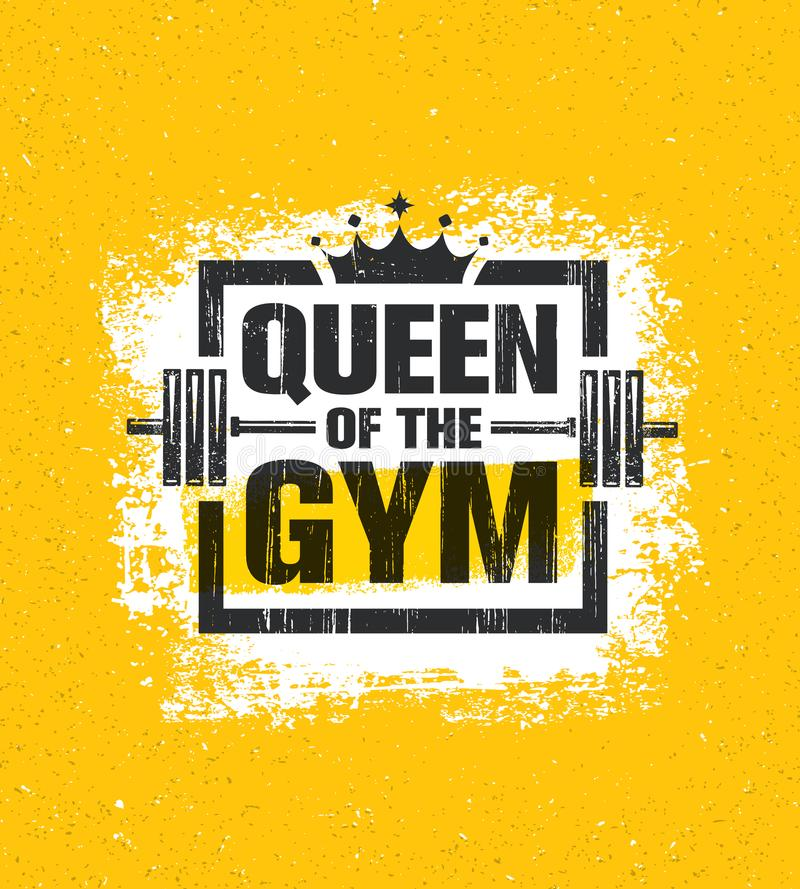 Inspiring Woman Female Workout and Fitness Gym Motivation Quote Illustration Sign. Creative Strong Sport Vector royalty free illustration