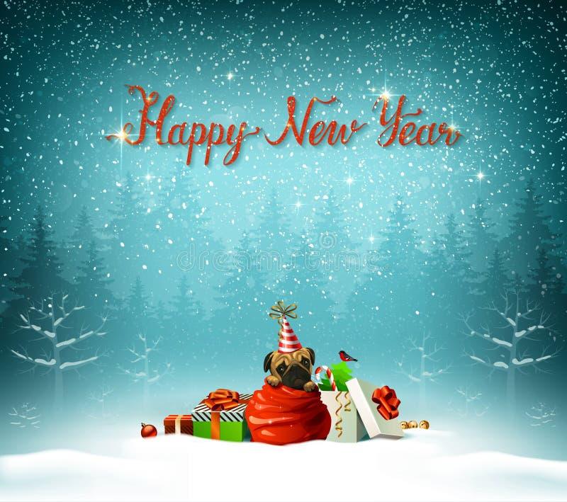 Insption rouge calligraphique de bonne année Le chiot mignon s'élève du sac de clauses de Santa image stock