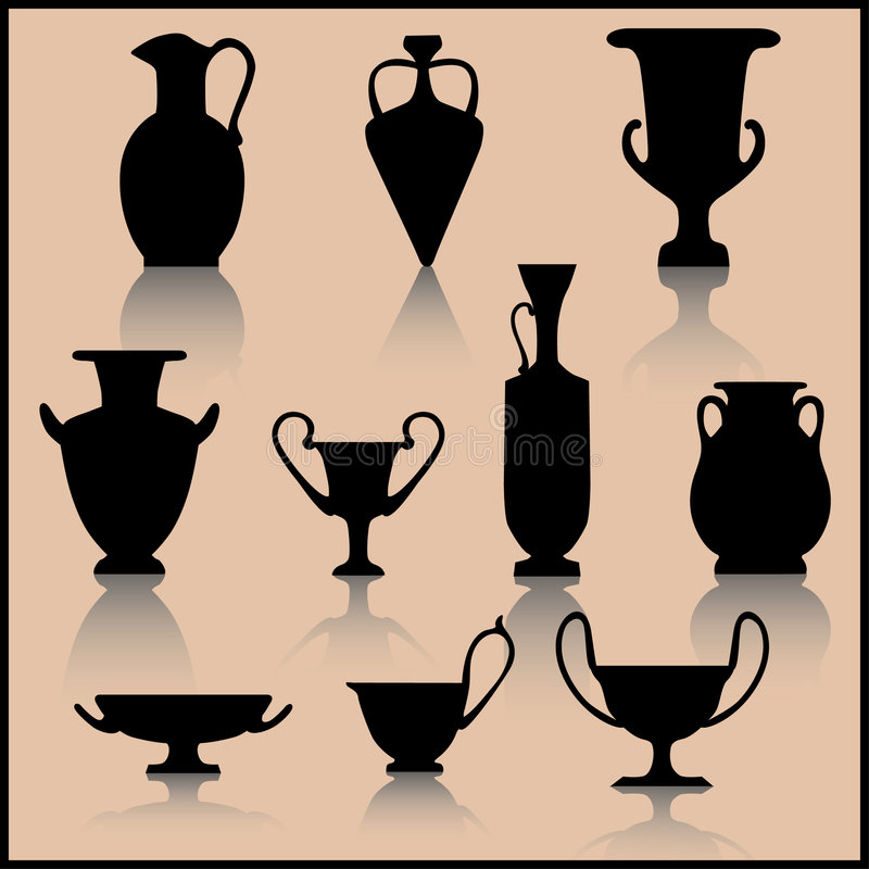inställd forntida keramik royaltyfri illustrationer