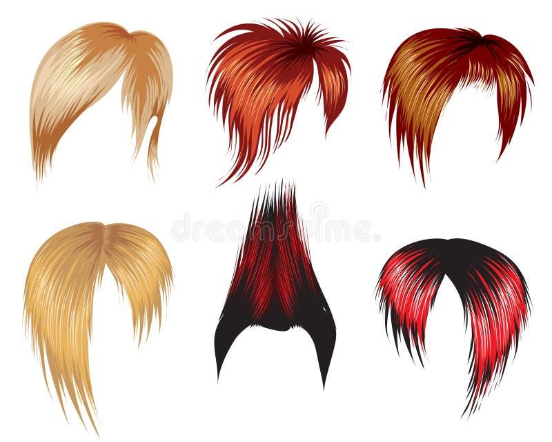 inställd stil för hår prövkopior vektor illustrationer