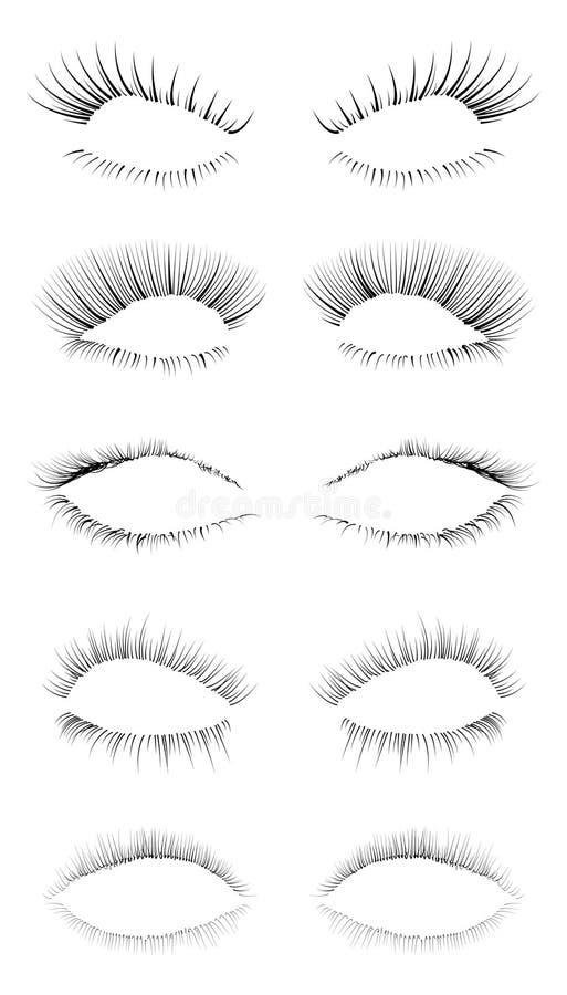 inställda ögonfranser royaltyfri illustrationer