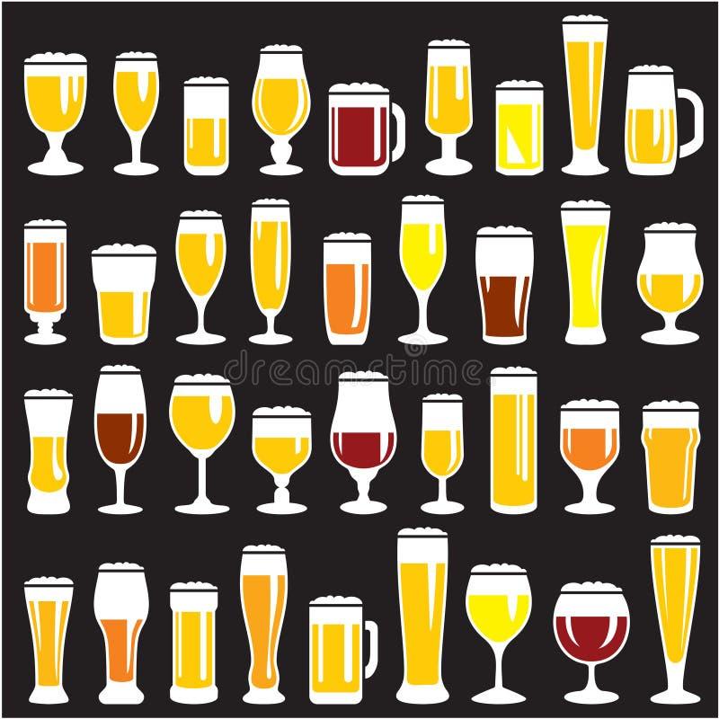 Inställda ölexponeringsglas stock illustrationer