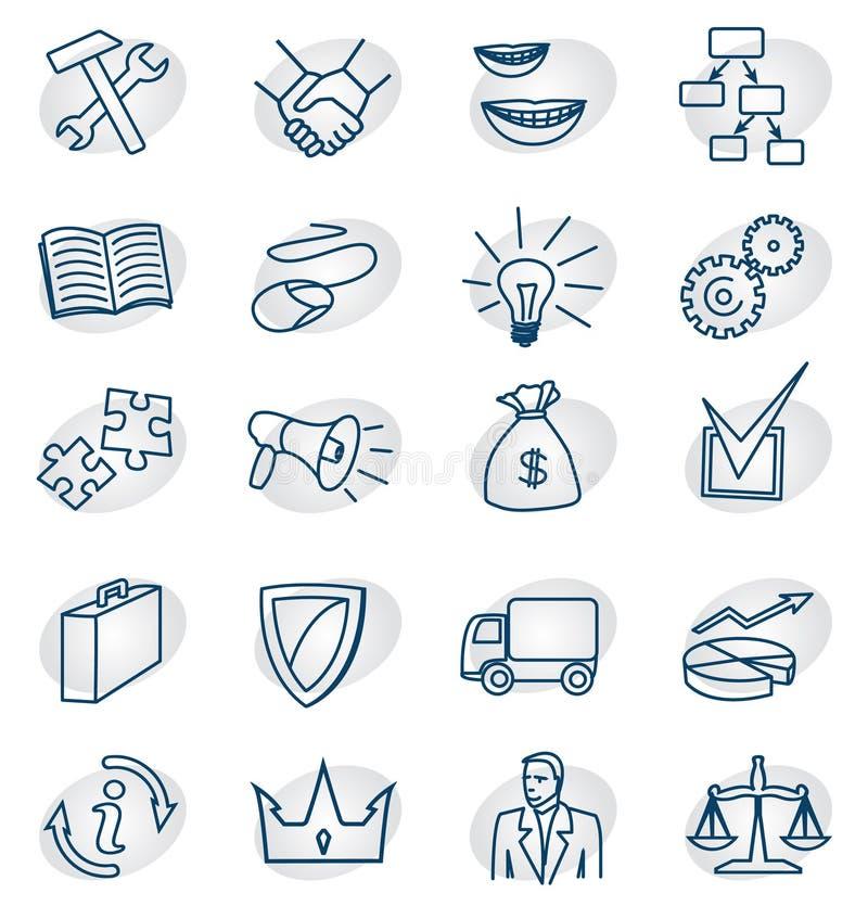 inställda affärssymboler royaltyfri illustrationer