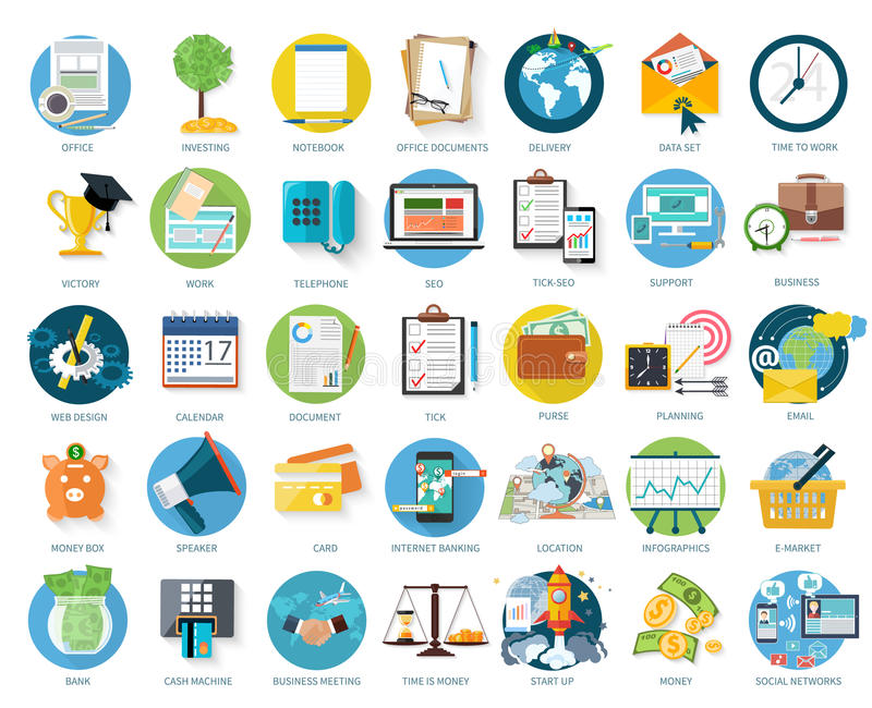 inställda affärssymboler stock illustrationer
