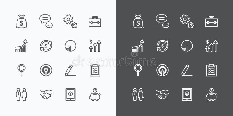 inställda affärssymboler plan linje designvektor för rengöringsduk och mobil vektor illustrationer