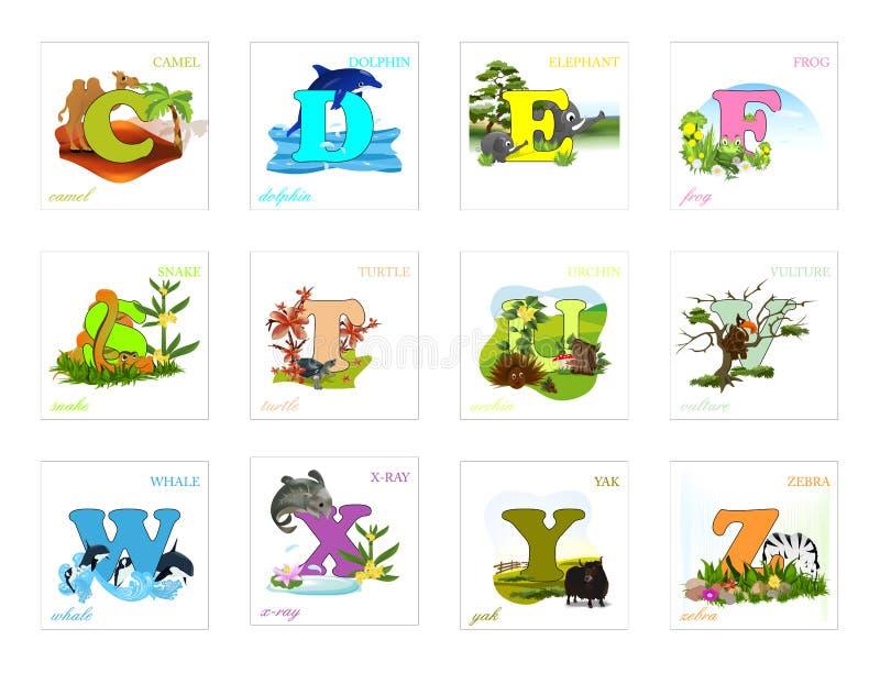 inställda alfabetbokstäver stock illustrationer