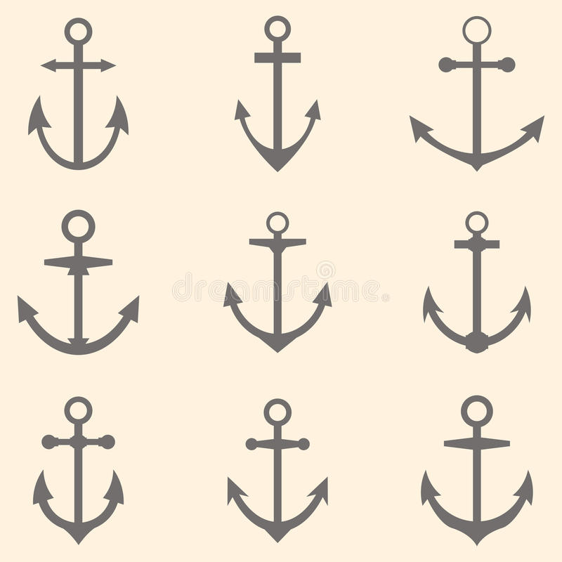 inställda ankaren Ankarsymboler eller logomall royaltyfri illustrationer