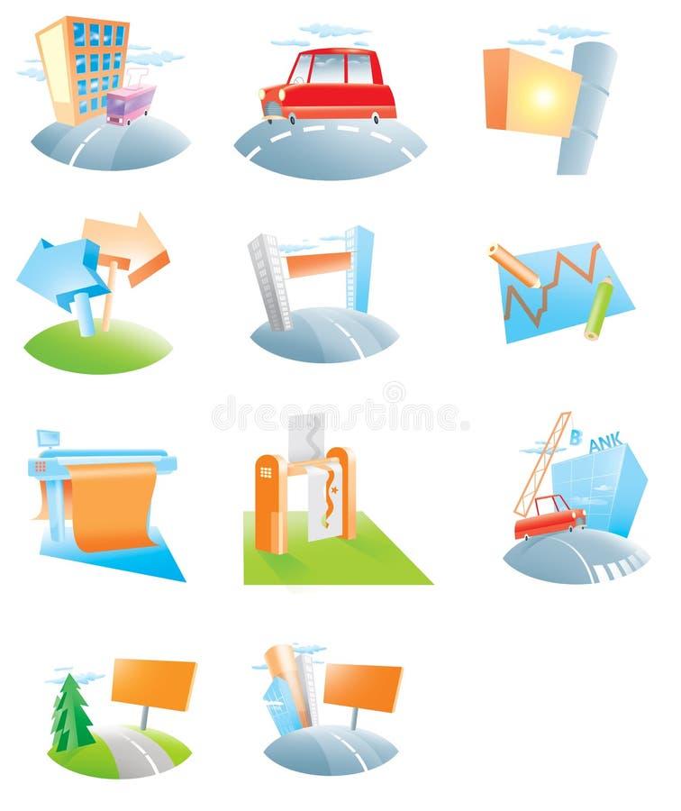 inställda annonsbyråsymboler arkivfoton