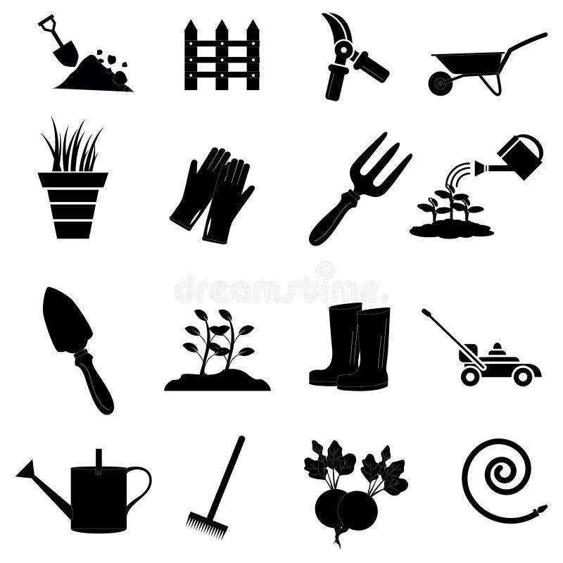 inställda arbeta i trädgården symboler royaltyfri illustrationer