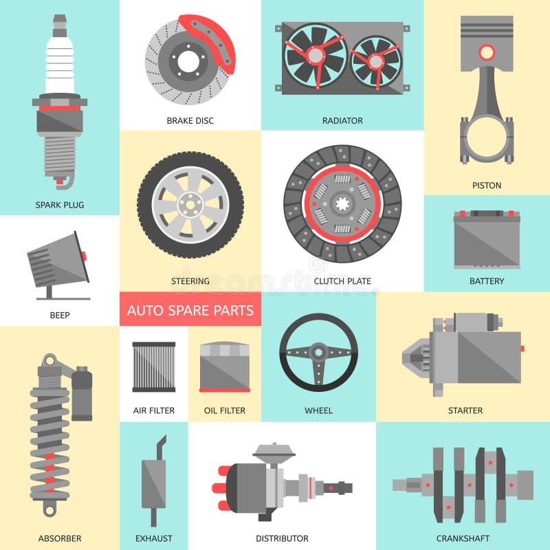 inställda auto delar extra Bilreparationssymboler i plan stil vektor illustrationer