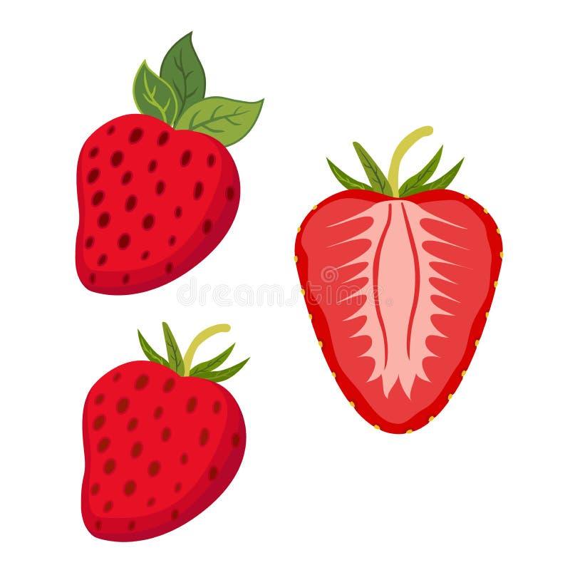 inställda bär Hel jordgubbe, skivor av bäret Plan stil royaltyfri illustrationer