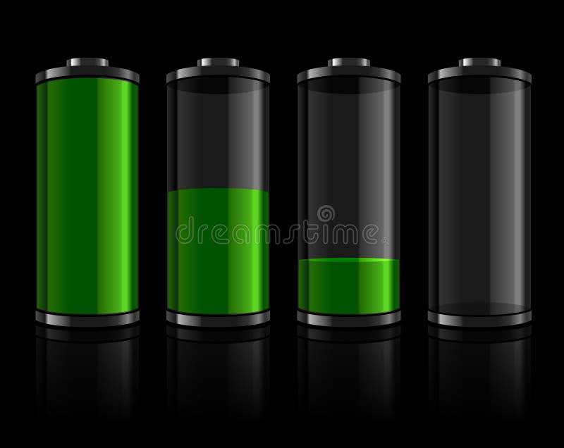 inställda batterinivåer royaltyfri illustrationer