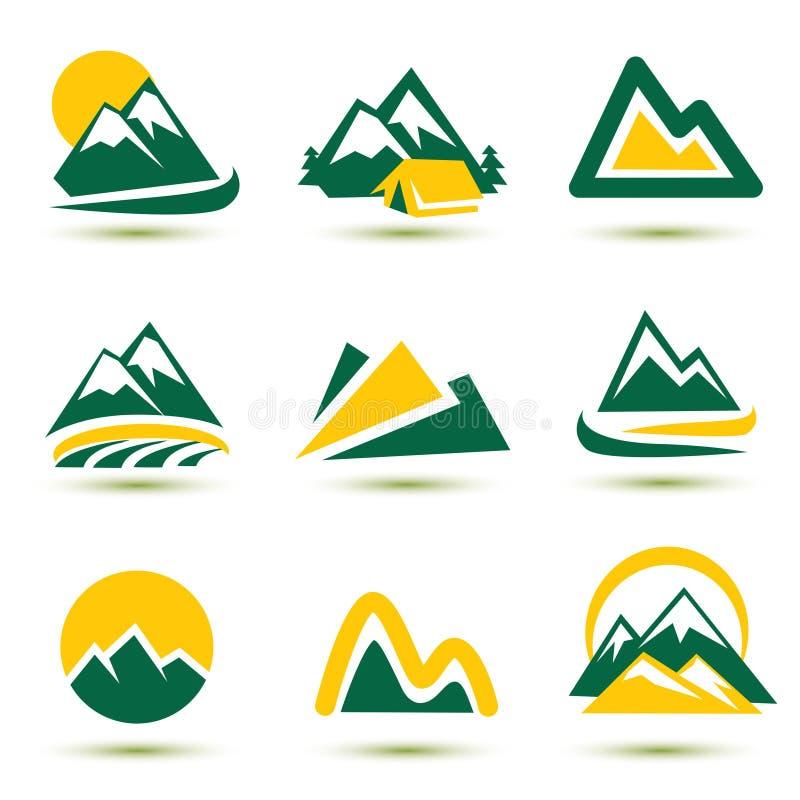 Inställda bergsymboler stock illustrationer