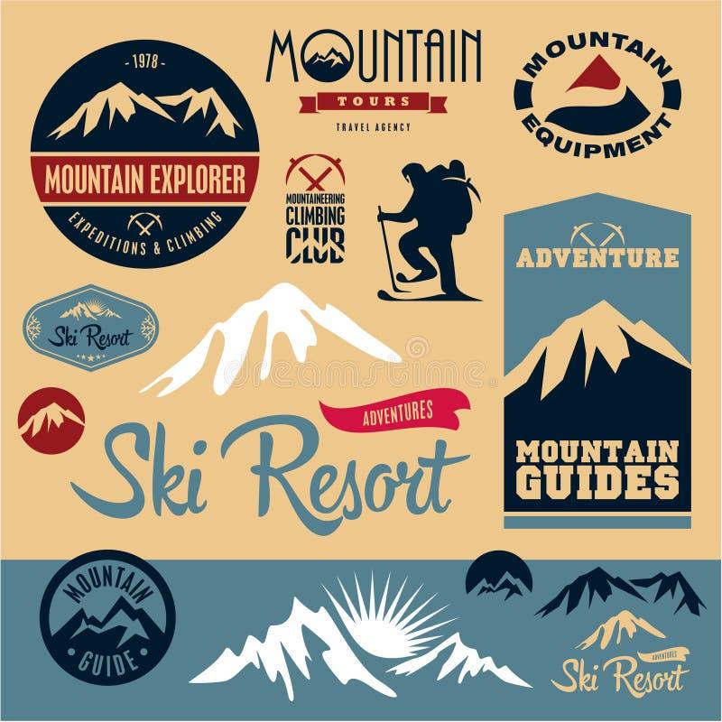 Inställda bergsymboler Bergklättring klättrare semesterorten skidar stock illustrationer