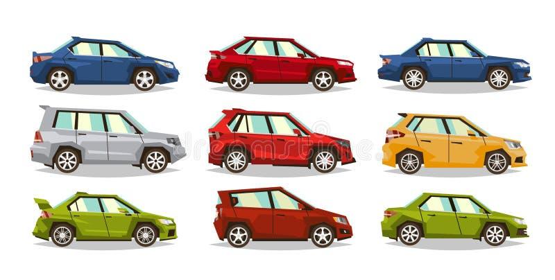 inställda bilar Samlingsmedel Sedan halvkombi, roadster, SUV Bilden av leksakmaskiner Isolerade objekt på en vit stock illustrationer
