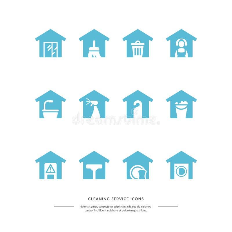 inställda blåa symboler rengörande service royaltyfri illustrationer