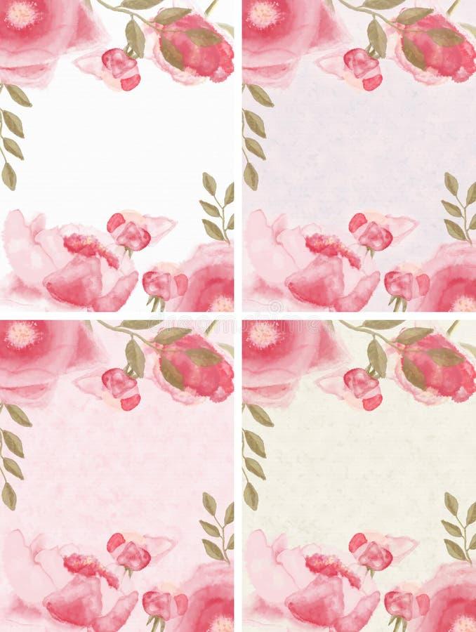4 inställda blom- ramar royaltyfri illustrationer