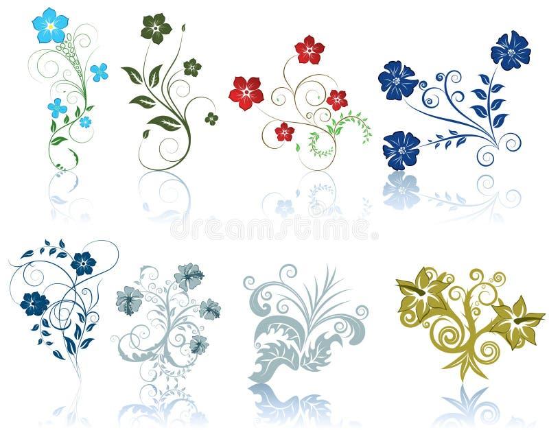 inställda blommor stock illustrationer