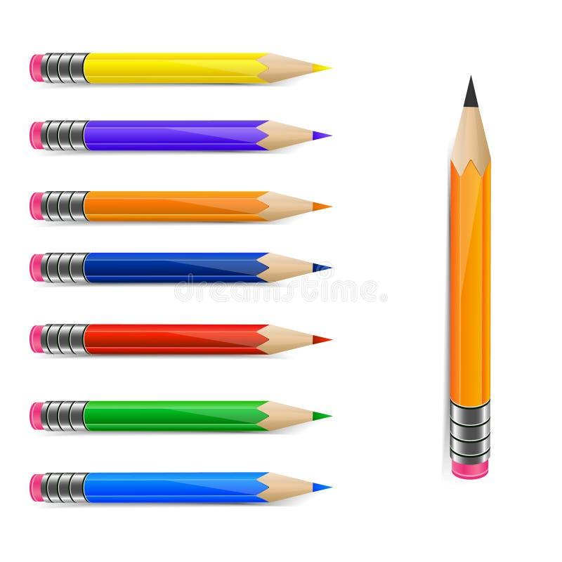 inställda blyertspennor royaltyfri illustrationer