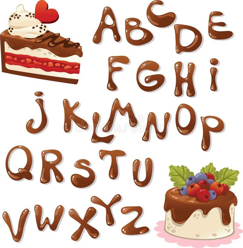 inställda bokstäver för alfabetchokladillustration royaltyfri illustrationer