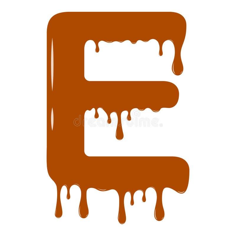 inställda bokstäver för alfabetchokladillustration Chokladbokstav - E arkivfoto