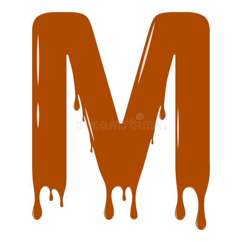 inställda bokstäver för alfabetchokladillustration Chokladbokstav - M royaltyfri fotografi